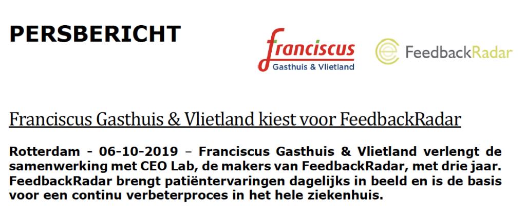 Franciscus gasthuis vlietland persbericht